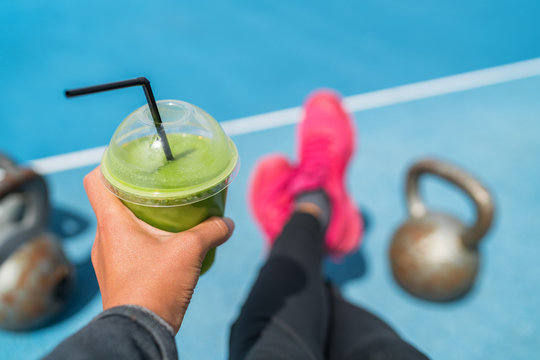 Fitness smoothie woman food selfie of green juice