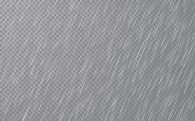Rain drops on transparent background. Falling water drops. Nature rainfall. Vector illustration Fotobehang