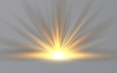 Fototapeta Sunrise. Sunlight special lens flash light effect on transparent background. Effect of blurring light. Vector Illustration obraz