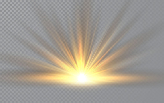 Sunrise. Sunlight special lens flash light effect on transparent background. Effect of blurring light. Vector Illustration