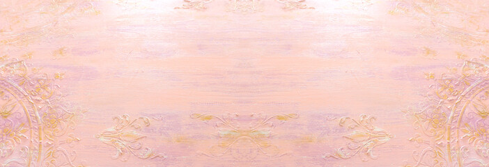 background of pink and gold wooden vintage wall with floral emboss details
