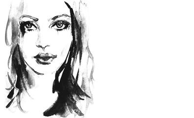 Fototapeta Black and white portrait of woman obraz