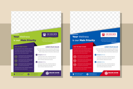 set of Medical Brochure Flyer Design Template A4 Size. Health care document with flat color element. the combination color green - purple and red - blue. space for photo.