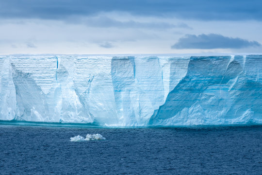 Navigating among enormous icebergs, including the world's largest recorded B-15, calved from the Ross Ice Shelf of Antarctica,
