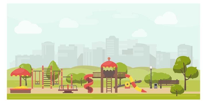 Kids playground in city park flat illustration. Stock vector. Playground design with slide, swing, carousel, sandbox. Public park landscape.