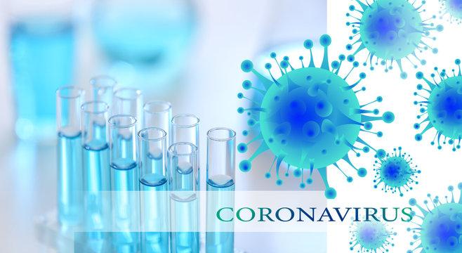 Test tubes with Coronavirus in laboratory