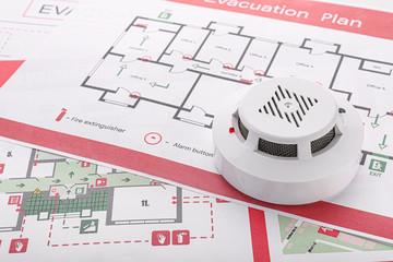 Smoke detectors on evacuation plans