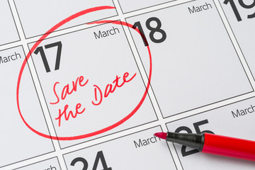 Save the Date written on a calendar - March 17