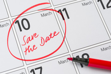 Save the Date written on a calendar - March 10