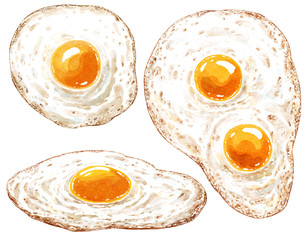 Fried egg watercolor illustration, isolated on white