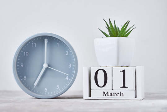 Alarm clock with wooden block calendar date 1st march and plant on the table
