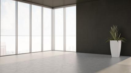 Fototapeta large luxury modern minimal bright interiors room mockup illustration 3D rendering obraz