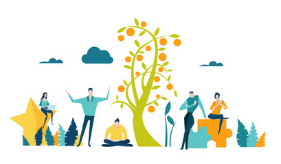 Little happy business people growing the money tree, working together and doing profitable business. Concept illustration