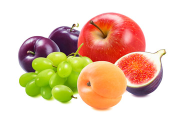 Red apple, green grapes, plums, apricots and fig isolated on white background
