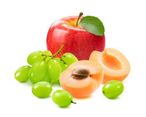 Red apple with green leaf, grapes and apricots isolated on white background