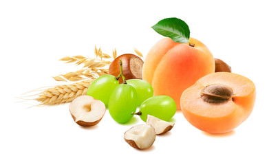Apricots, grapes, hazelnuts, oats isolated on white background. Fruit and nut set for muesli and granola