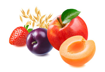 Red apple, plum, apricot, strawberry and oats isolated on white background