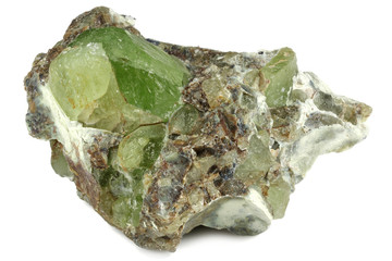 peridot on matrix from Kohistan Valley, Pakistan isolated on white background
