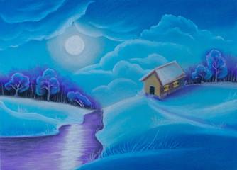 Illustration. Winter Christmas snow sunset, houses, river