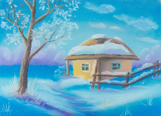 Illustration. Winter Christmas snow day, house