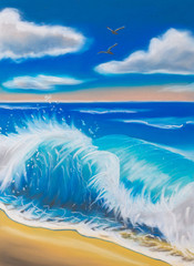 Illustration. Sea wave day