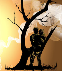 image of a couple in love near a tree and clouds above them as a concept of two converging destinies. Merging into one white cloud, as a symbol of creating a bright shared future, family