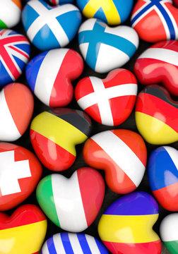 Die Landesflaggen der Länder Europas in Herzform, Hochfprmat