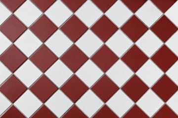 Brown And White Checkered Floor Tiles. background image, texture.