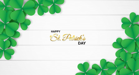 Happy St. Patrick's Day . Design with shamrock on white wood background. paper art style . Vector.