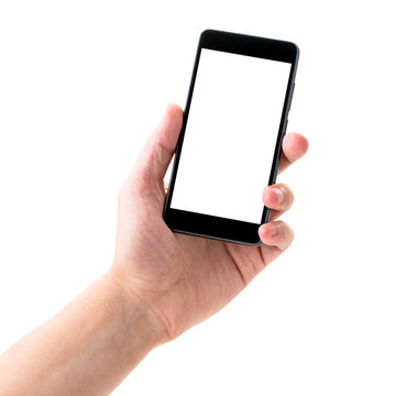Phone in the persons hand on a white background, space for text,. Isolated