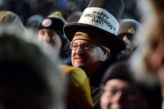Al Dunst, of Belvidere, New Jersey, watches performances during the 134th Groundhog Day in Punxsutawney, Pennsylvania