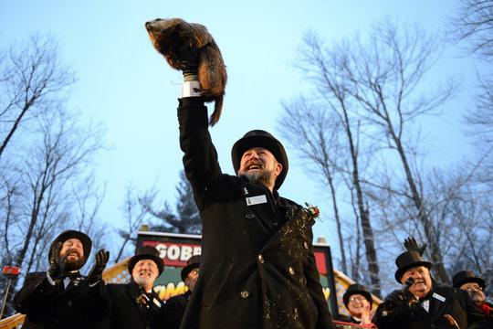 Punxsutawney Phil is held on the 134th Groundhog Day in Punxsutawney, Pennsylvania