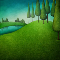 Green background with dark forest and lake