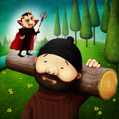Fantasy illustration of  poor lumberjack and service devil