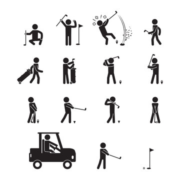 People playing golf icon set. Stick figure icon set. Vector.