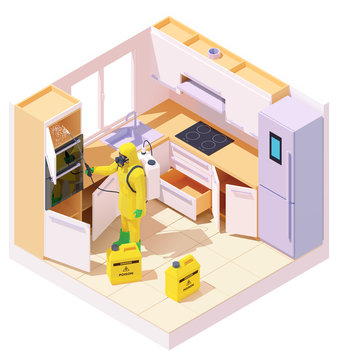 Vector isometric pest control worker spraying pesticides or insecticide on cabinet in kitchen room. Man in the protective workwear with sprayer. Pest exterminator at work