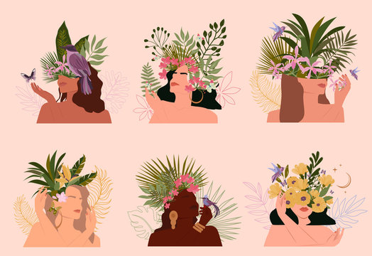 Collection of paradise women abstract portrait with different skin colour and tropical plant, minimalistic style. Vector illustration.