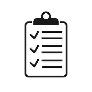 clipboard checklist or clipboard survey form line art vector icon for apps and websites
