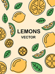 Doodle art pictures of yellow lemons and leaves.