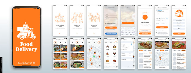 Poster Restaurant Mobile app design, UI, UX, GUI Mockups Set. Enter login and password and a screen with a choice of restaurants and cafes. City map navigation and customer reviews