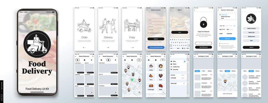 Mobile app design, UI, UX, GUI Mockups Set. Enter login and password and a screen with a choice of restaurants and cafes. City map navigation and customer reviews