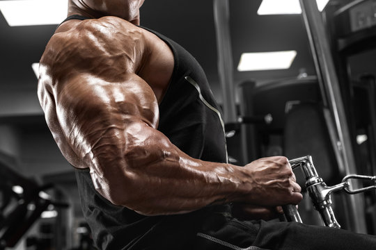 Bodybuilder man workout in gym. Strong male doing exercise for back
