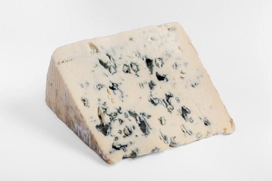 french cow's milk cheese called Bleu d'Auvergne isolated on white background