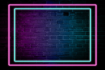 Lighting Effect frame pink and blue neon on brick wall for background party or your text.