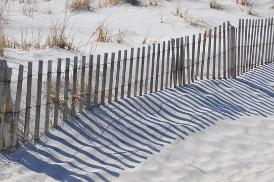 storm fence on a Wildwood beach on the New Jersey coast