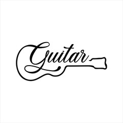 Guitar logo Design Vector Stock Illustration . Guitar Shop Logo . Rock music festival logo Vintage Hipster Retro , Rock n Roll Logo Design