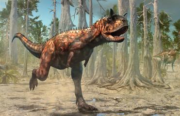 Wall Mural - Carnotaurus scene from the Cretaceous era 3D illustration