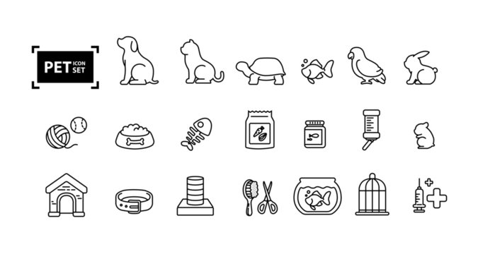 Pet icon line set design