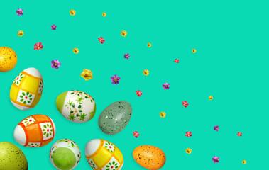 mint backgroune easter colorful cartoon comic eggs