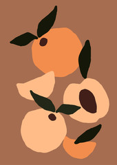 Abstract modern peach fruit on light background. Fashion minimal trendy art in paper cut mosaic flat style minimal poster print. Vector hand drawn illustration